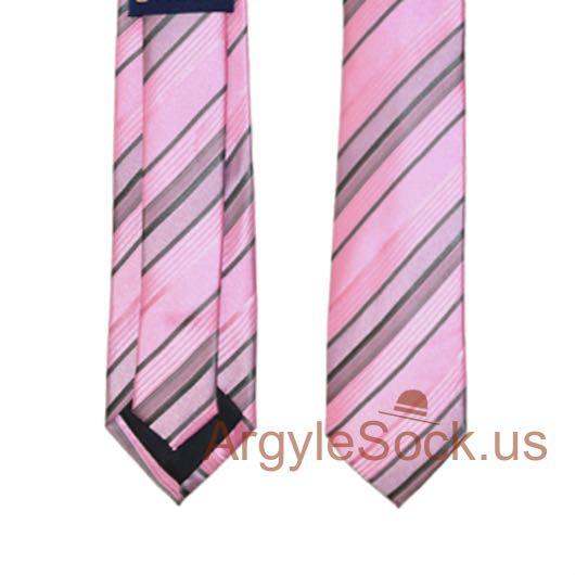 pink gray stripe groomsmen ties