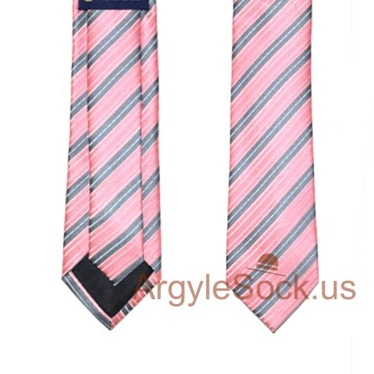 pink gray diagonal striped mens wedding slim neck tie
