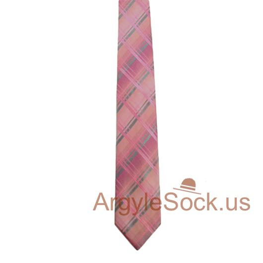 light pink silver gray plaid tartan check groomsmen tie