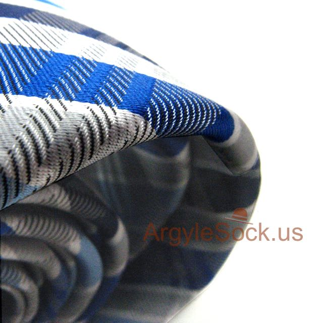 silver grey check necktie with blue