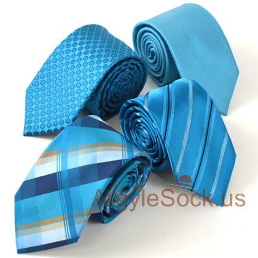 turquoise tartan plaid check groomsmen ties
