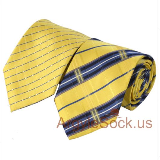 yellow blue navy tartan check groomsmen tie