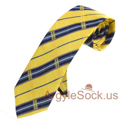 yellow blue navy plaid checkered groomsmen tie