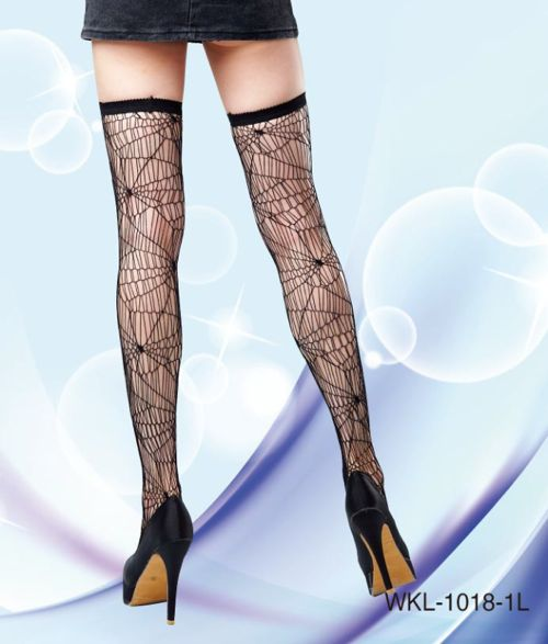 spider web thigh highs stockings for halloween back view