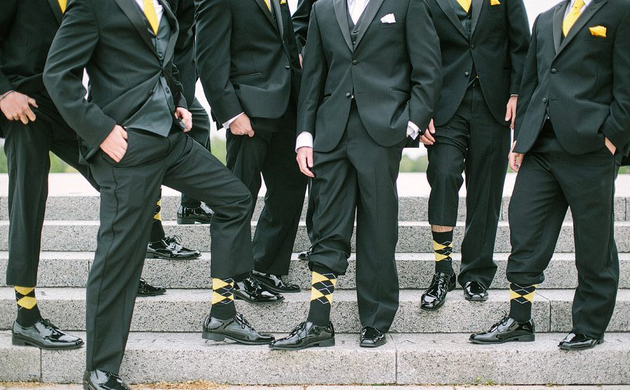 Black and Yellow Mens Sock and Suit Picture