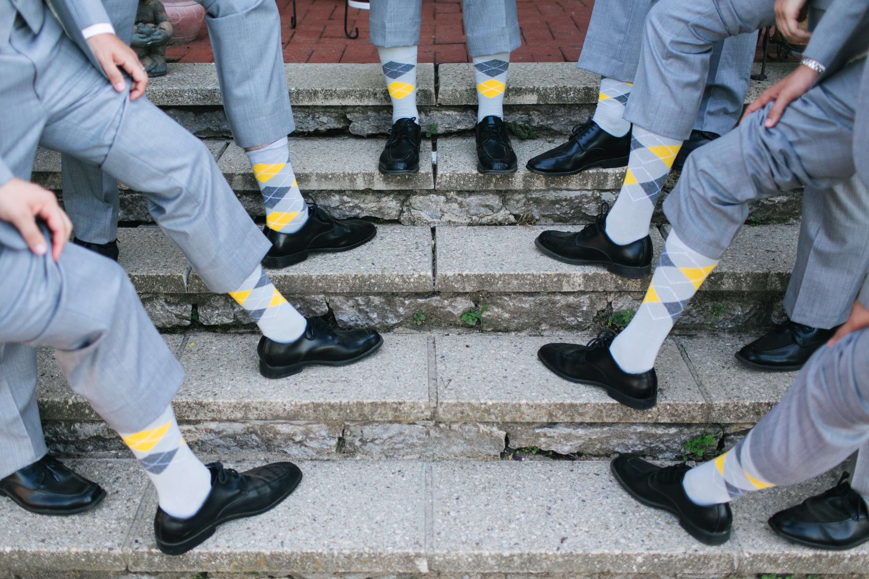 L D Grey Yellow Argyle Socks Ma020