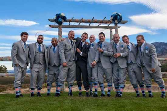 light blue peach navy groomsmen socks