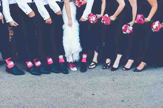 hotpink gray black groomsmen socks