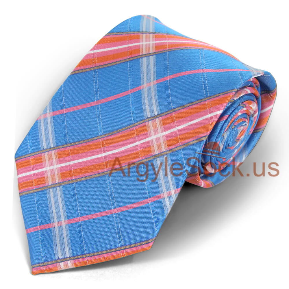 Turquoise Blue//Orange//Pink Mens Argyle  Socks for Groomsmen MA033