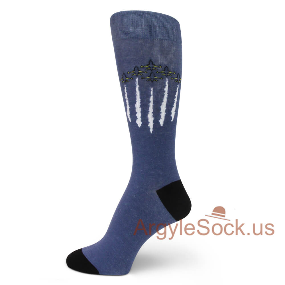 Mens Long Calf High Socks blue abstract abstract mythical Compression Socks