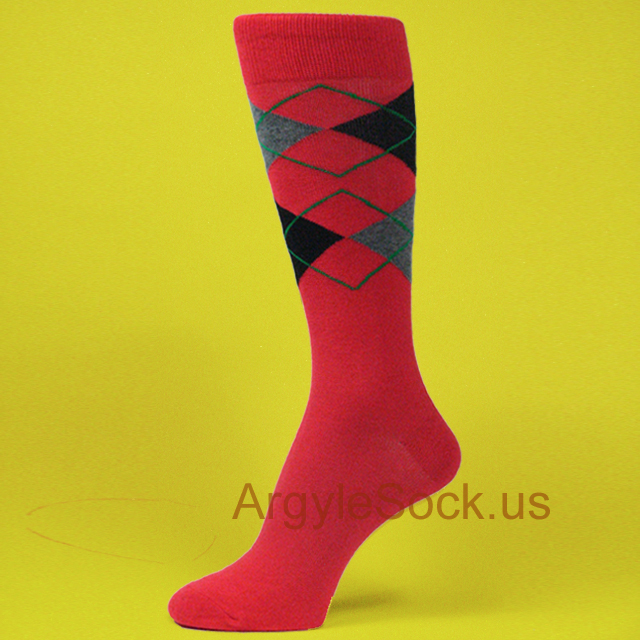 Red and yellow dress socks