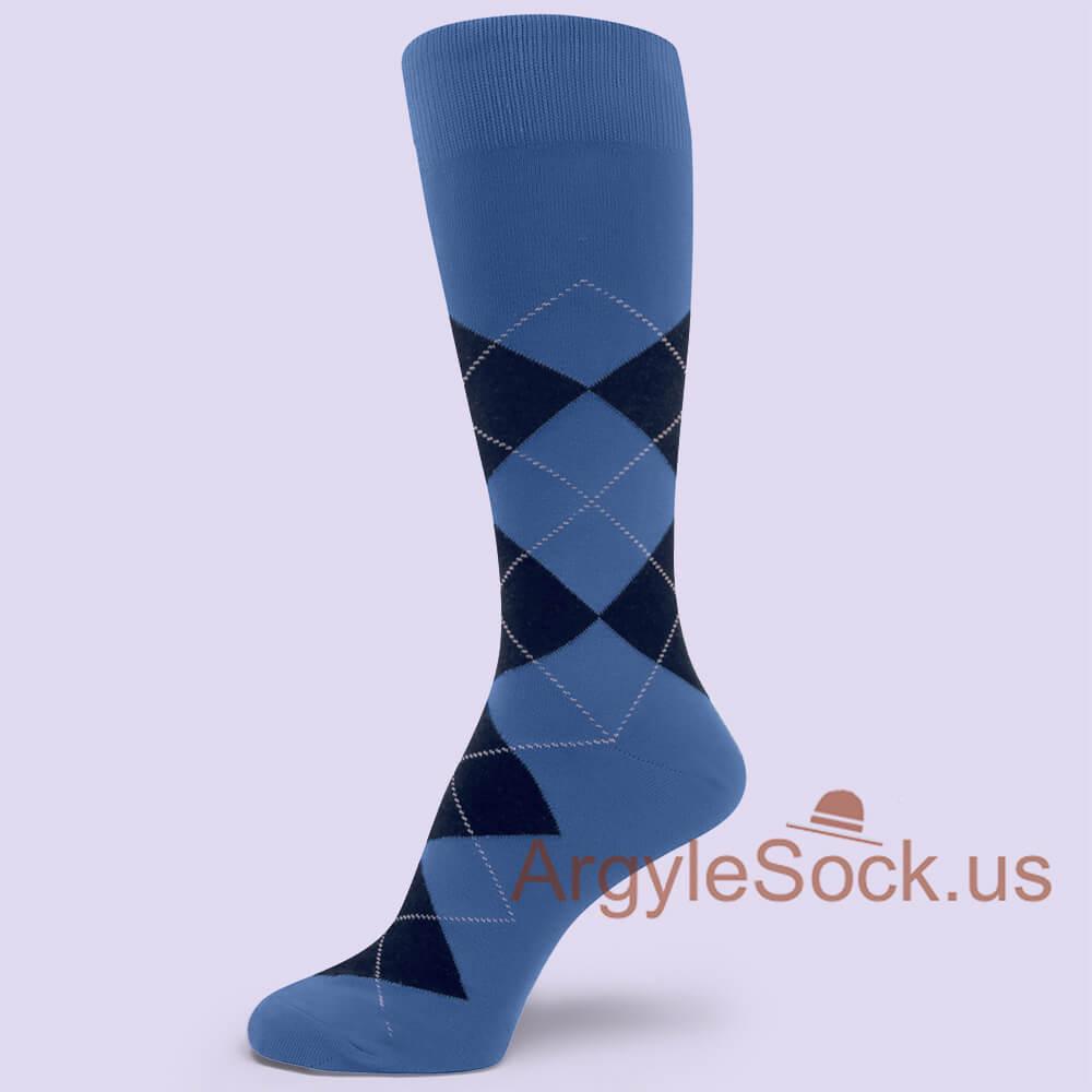 d37002fdcd8 Mystic Blue with Navy Blue Argyle Sock for Man Groomsmen Socks Gift ...