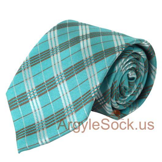 aqua turquoise plaid neck tie