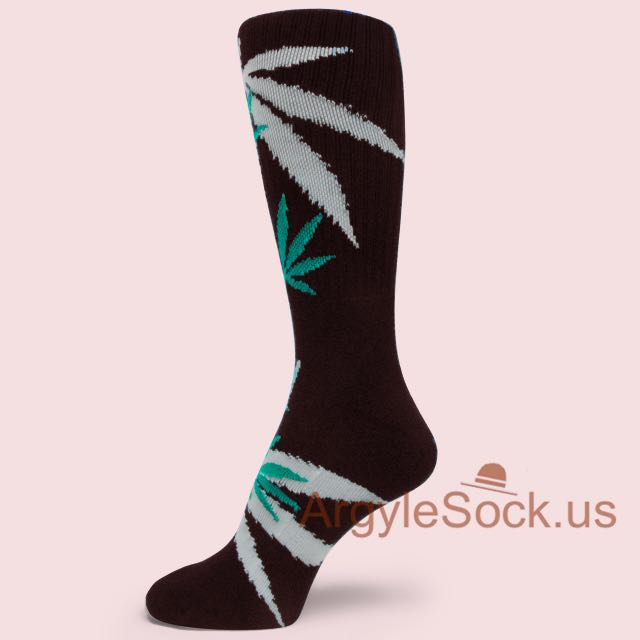 Marijuana Weed Leaf Symbols Black Socks For Men Groomsmen Socks Gift