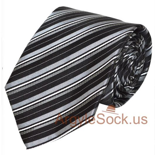 Light yellow grey striped neck tie