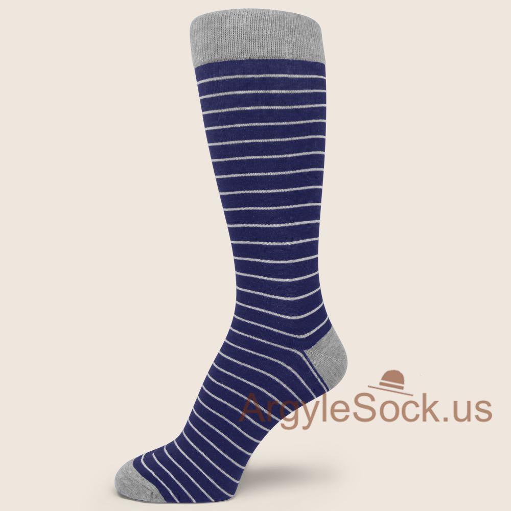 Blue and Thin White Striped Socks for Man - Men's Stripe Dress Socks With Bright Colors - Man's Socks Shop