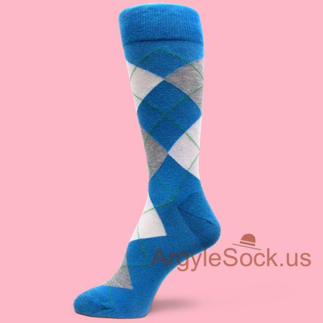 Socks Blue Blue Dress Socks With White