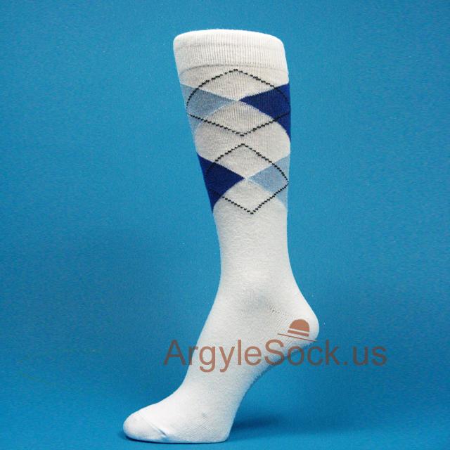 White Blue Groomsmen Socks