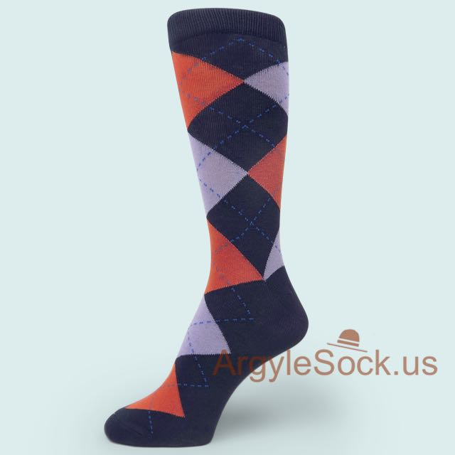 Dark Coral Lavender Argyles Midnight Men's Dress Socks , Argyle ...