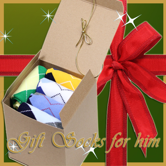 Men's Cool Argyle Dress Socks Gift Box Idea C