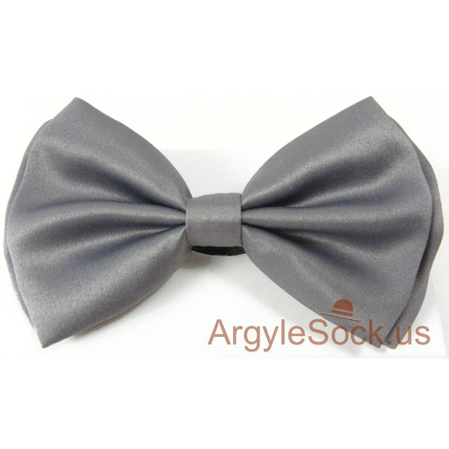 plain charcoal grey bow tie