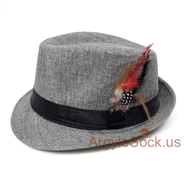 Grey Mens Groomsmen Fedora Hat with Feather Accent 59cm Groomsmen ... 425635c6eac
