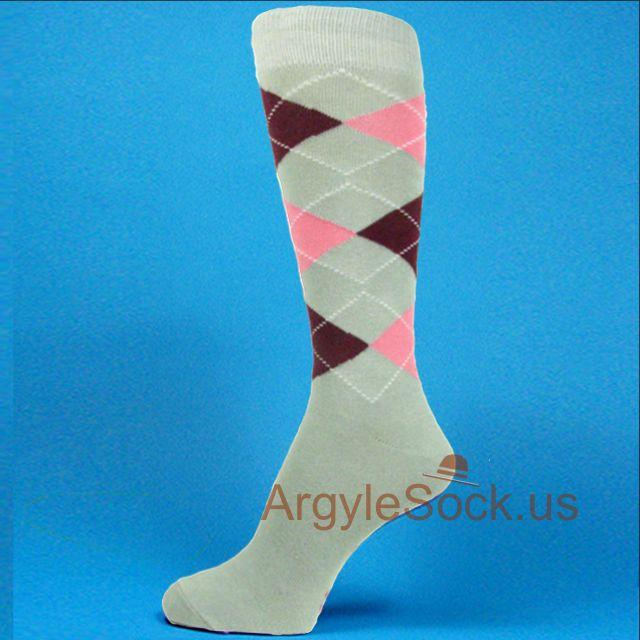 gray maroon/burgundy socks