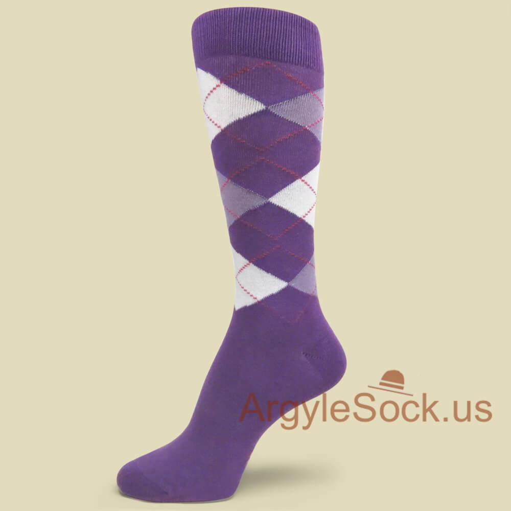 Light Purple Lavender White Argyle Socks For Groomsmen