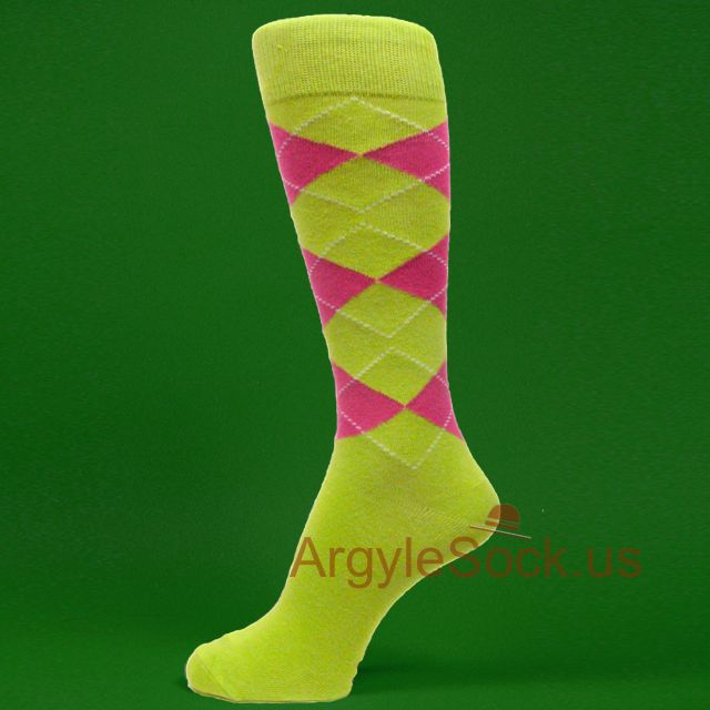 Lime green Hot Pink argyles mens dress socks