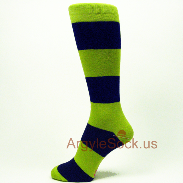 Lime green striped mens dress socks
