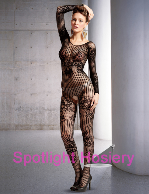 1bd44014c0f Long Sleeve Seamless Floral Bodystocking for Wedding Night