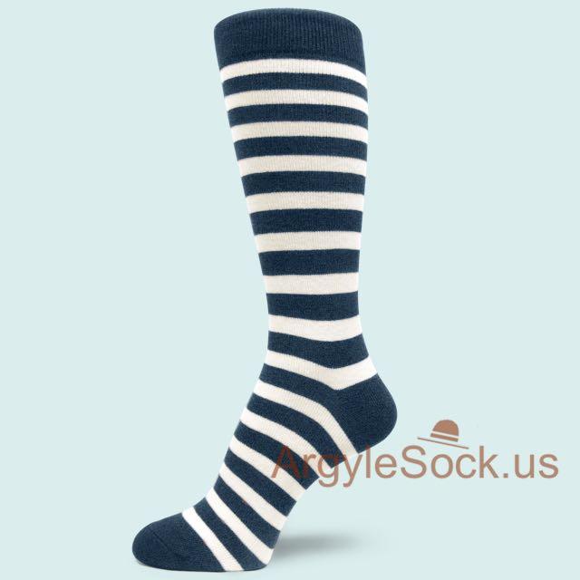 Midnight/Navy Blue and Off-White/Cream Striped Mens Socks - Gray, Black, White Stripes Dress Sock For Men Groomsmen Socks Gift
