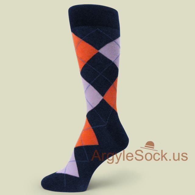 Orange Lavender Argyle Navy/Midnight Blue Dress Socks for Men ...