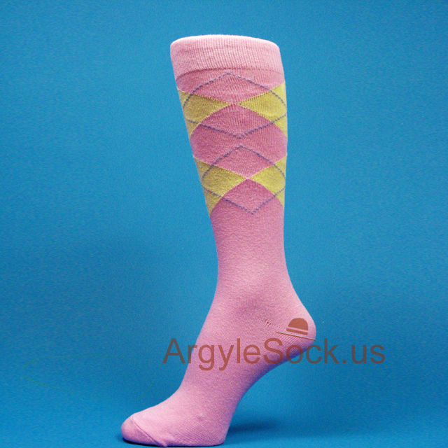 pink yellow groomsmen's argyle dress socks