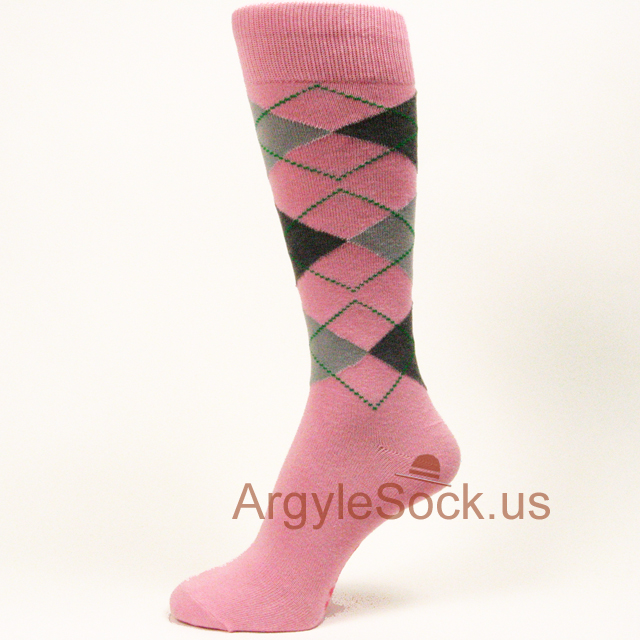 men's pink charcoal/dark gray light grey argyle socks