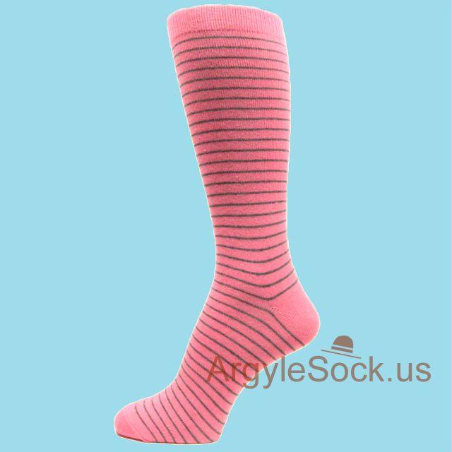Pink Dress Socks for Men with Thin Gray Stripes  Argyle Socks For Men