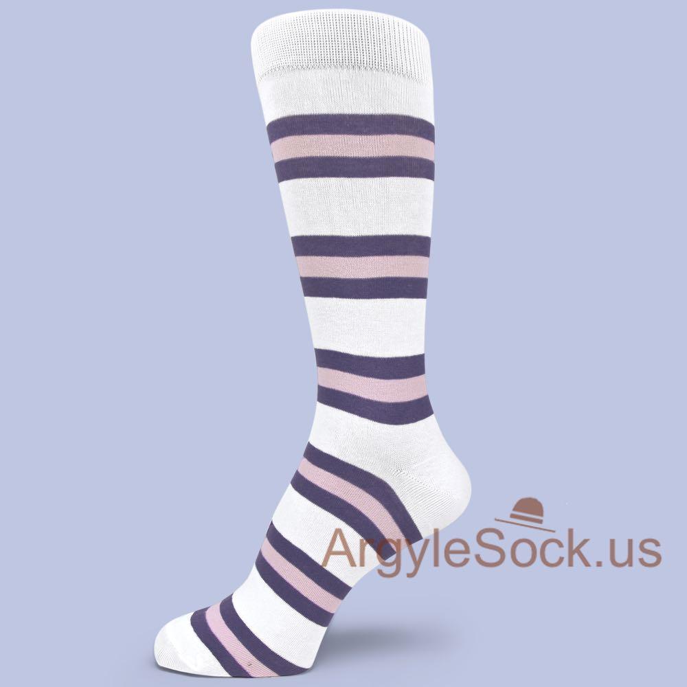 White Purple Light Pink Striped Dress Socks for Men - Gray, Black, White Stripes Dress Sock For Men Groomsmen Socks Gift