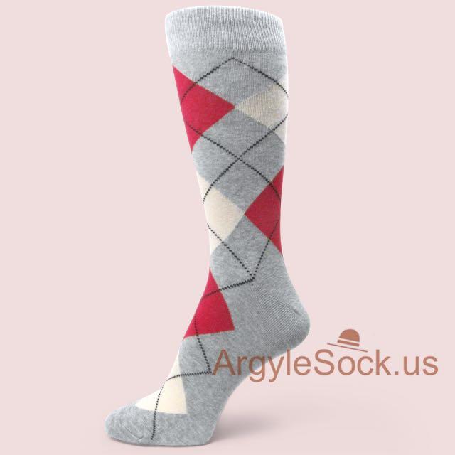 Bright Pink Navy Mid Night Blue Argyle Socks For Groomsmen