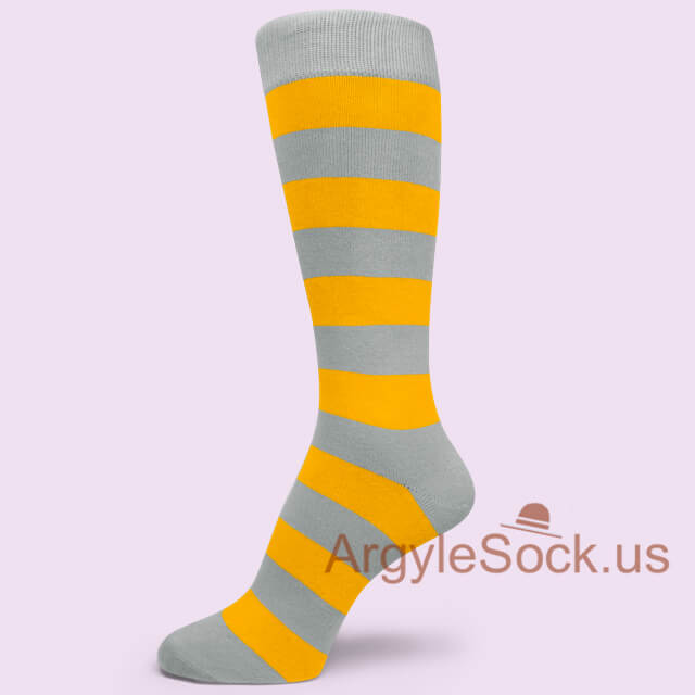 Grey Gray Regular Yellow Mid Size Striped Groomsmen Mens