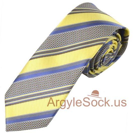 Light yellow grey striped neck tie