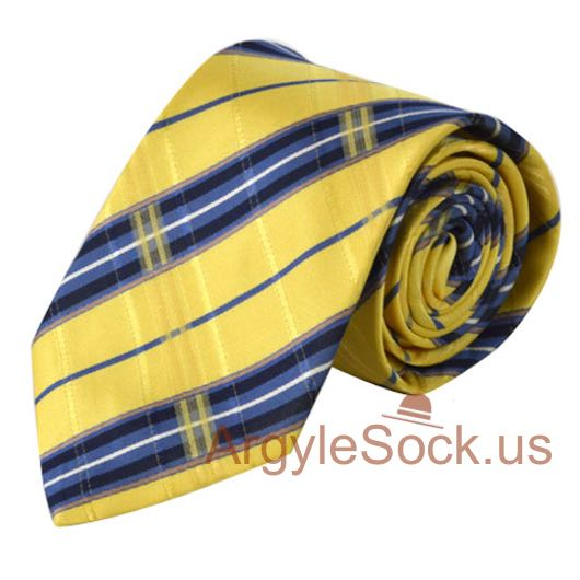 diagonally striped neck tie in yellow and blue