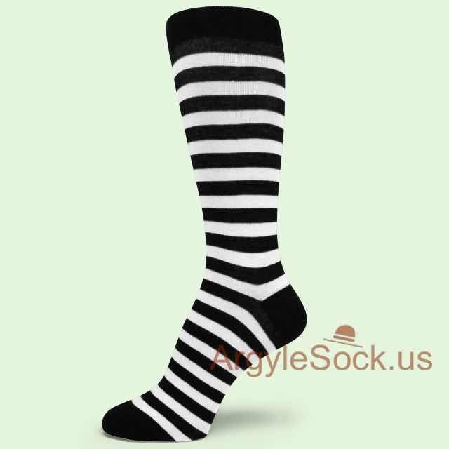Zebra Socks - Black & White Think Striped Mens Dress Socks - Very Light Pink With Thin Dark Gray Stripe Dress Socks For Men